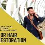 Man with nice hair on the phone in the air port and the words cost of hair restoration