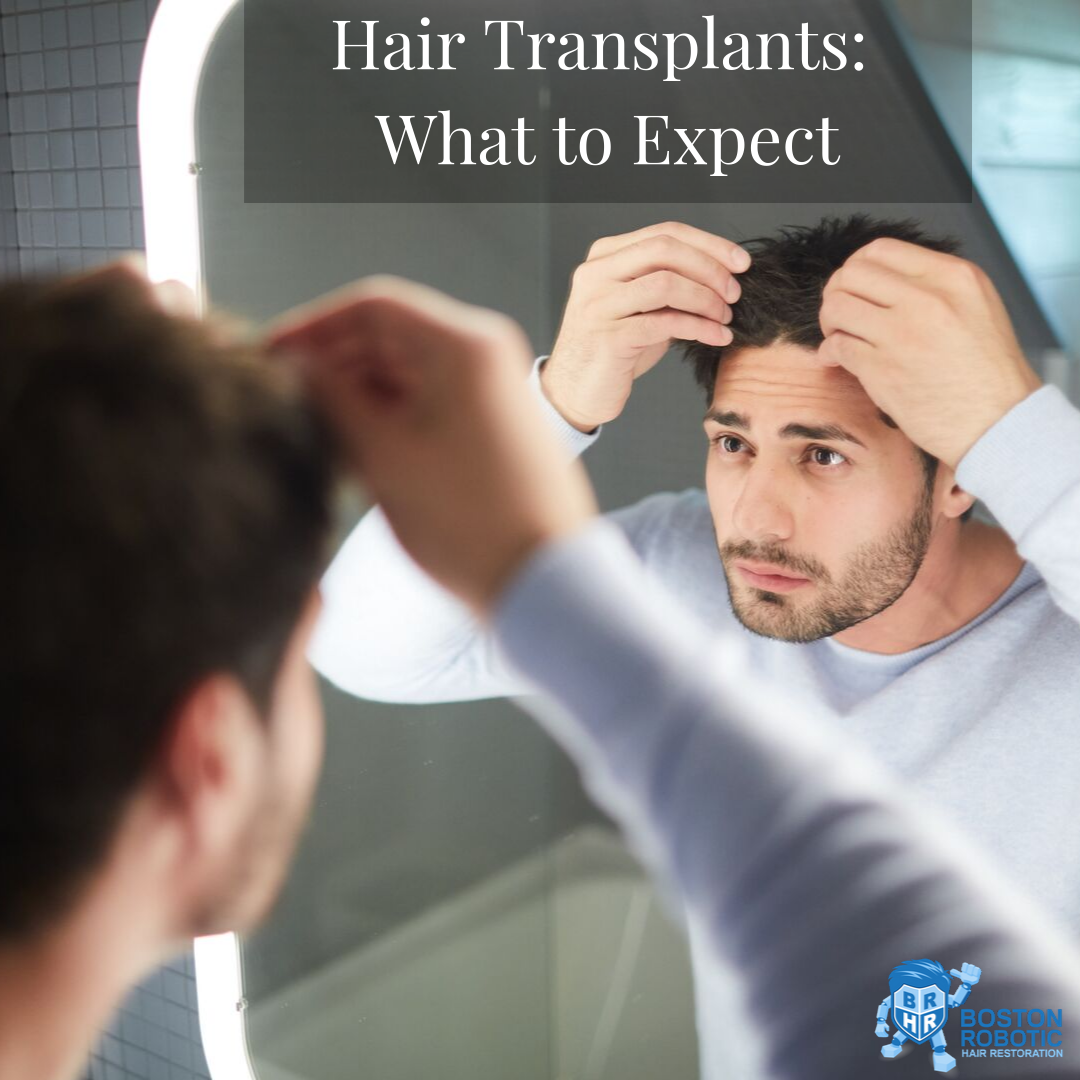 hair transplant man looks at hair in mirror